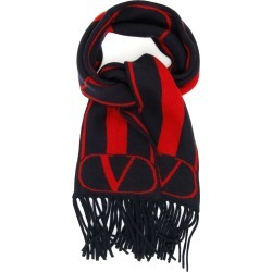 VALENTINO GARAVANI VLOGO SCARF OS Blue, Red Cashmere, Wool found on Bargain Bro India from Coltorti Boutique EU for $424.13