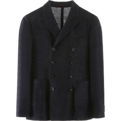 THE GIGI ZIGGY DOUBLE-BREASTED BLAZER 48 Blue Cotton, Linen found on MODAPINS from Coltorti Boutique AU for USD $333.60