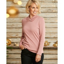 Cotton Traders Women's Wrinkle Free Shawl Neck Top in Pink found on Bargain Bro UK from Cotton Traders