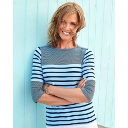 Cotton Traders Women's Wrinkle Free Stripe Boat Neck Top in Blue found on Bargain Bro UK from Cotton Traders