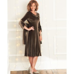 Cotton Traders Women's Velour Cowl Neck Dress With Shawl in Brown found on Bargain Bro UK from Cotton Traders