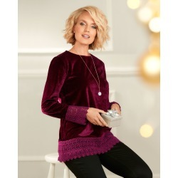 Cotton Traders Women's Velour Lace Trim Top in Red found on Bargain Bro UK from Cotton Traders
