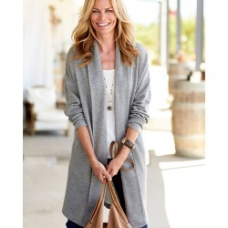 Cotton Traders Women's Longline Edge-to-Edge Cardigan in Grey found on Bargain Bro UK from Cotton Traders