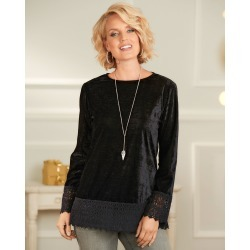 Cotton Traders Women's Velour Lace Trim Top in Black found on Bargain Bro UK from Cotton Traders