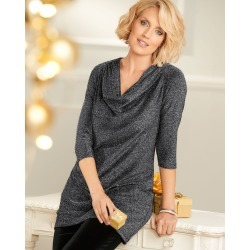 Cotton Traders Women's Sparkle Jersey Cowl Neck Tunic in Black found on Bargain Bro UK from Cotton Traders