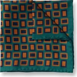 Retro Rectangle Print Silk Pocket Square - Teal & Brown by Charles Tyrwhitt found on Bargain Bro UK from Charles Tyrwhitt (AU)