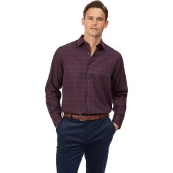 Cotton Tencel Classic Fit Cotton With Tencel™ Burgundy Check Shirt found on Bargain Bro UK from Charles Tyrwhitt (UK)