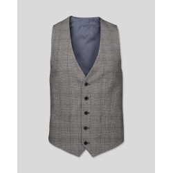 Wool Prince Of Wales Check Suit Waistcoat - Grey & Burgundy found on Bargain Bro UK from Charles Tyrwhitt (UK)
