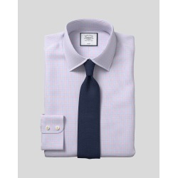 Classic Collar Non-Iron Poplin Check Cotton Business Shirt - Sky & Red Single Cuff Size 37/84 by Charles Tyrwhitt found on Bargain Bro UK from Charles Tyrwhitt (AU)