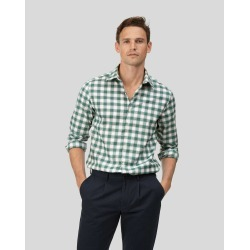 Cotton Extra Slim Fit Soft Washed Non-Iron Stretch Oxford Green And White Check Shirt found on Bargain Bro UK from Charles Tyrwhitt (UK)