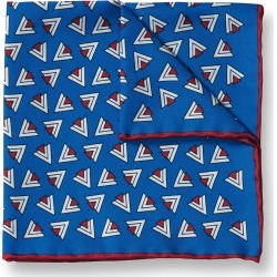 Retro Triangle Print Silk Pocket Square - Royal Blue & Red Size OSFA by Charles Tyrwhitt found on Bargain Bro UK from charles tyrwhitt shirts eu