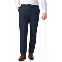 Navy Classic Fit Stretch Textured Non-Iron Cotton Tailored Pants Size W40 L32 by Charles Tyrwhitt found on Bargain Bro Philippines from Charles Tyrwhitt for $99.00