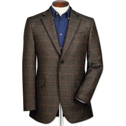 Slim Fit Brown Checkered Lambswool Wool Jacket Size 40 by Charles Tyrwhitt found on Bargain Bro India from Charles Tyrwhitt for $199.00