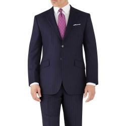 Navy Stripe Classic Fit Flannel Business Suit Wool Jacket Size 44 by Charles Tyrwhitt found on Bargain Bro India from Charles Tyrwhitt for $189.00