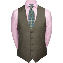 Wool Olive Adjustable Fit Twill Business Suit Waistcoat found on Bargain Bro UK from Charles Tyrwhitt (UK)