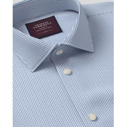 Semi-Cutaway Collar Italian Luxury Dobby Stripe Cotton Business Shirt - Teal Single Cuff Size 37/84 by Charles Tyrwhitt found on Bargain Bro UK from Charles Tyrwhitt (AU)