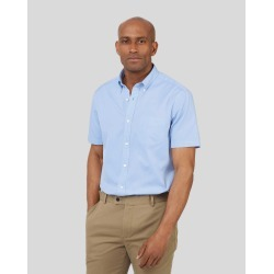 Cotton Slim Fit Short Sleeve Button-Down Washed Oxford Sky Blue Shirt found on Bargain Bro UK from Charles Tyrwhitt (UK)