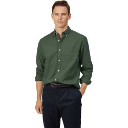 Cotton Classic Fit Button-Down Washed Oxford Green Shirt found on Bargain Bro UK from Charles Tyrwhitt (UK)