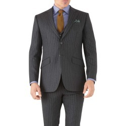 Charcoal Stripe Slim Fit Flannel Business Suit Wool Jacket Size 42 by Charles Tyrwhitt found on Bargain Bro India from Charles Tyrwhitt for $189.00