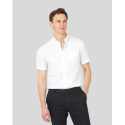 Cotton Slim Fit Short Sleeve Button-Down Washed Oxford White Shirt found on Bargain Bro UK from Charles Tyrwhitt (UK)