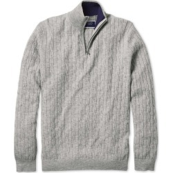 Light Grey Zip Neck Lambswool Cable Knit Jumper Size XS by Charles Tyrwhitt found on Bargain Bro UK from charles tyrwhitt shirts eu