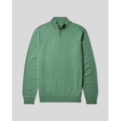 Merino Cashmere Zip Neck Jumper - Green Size Medium by Charles Tyrwhitt found on Bargain Bro UK from Charles Tyrwhitt (AU)