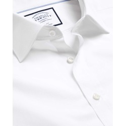 Semi-Cutaway Collar Egyptian Cotton Poplin Business Shirt - White Single Cuff Size 44/97 by Charles Tyrwhitt found on Bargain Bro UK from Charles Tyrwhitt (AU)