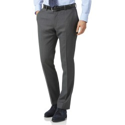 Wool Grey Slim Fit Birdseye Travel Suit Trousers found on Bargain Bro UK from Charles Tyrwhitt (UK)