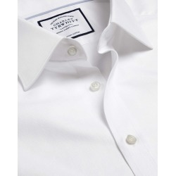 Semi-Cutaway Collar Egyptian Cotton Herringbone Business Shirt - White Single Cuff Size 48/94 by Charles Tyrwhitt found on Bargain Bro UK from Charles Tyrwhitt (AU)