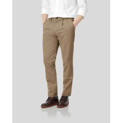 Single Pleat Soft Washed Cotton Chino Pants - Tan Size W102 L86 by Charles Tyrwhitt found on Bargain Bro UK from Charles Tyrwhitt (AU)
