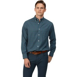 Cotton Classic Fit Soft Washed Non-Iron Twill Teal Check Shirt found on Bargain Bro UK from Charles Tyrwhitt (UK)