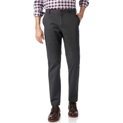 Charcoal Flat Front Soft Washed Cotton Chino Trousers Size W30 L30 by Charles Tyrwhitt found on Bargain Bro UK from charles tyrwhitt shirts eu