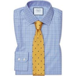 Cotton Slim Fit Brushed-Back Basketweave Blue Check Shirt found on Bargain Bro UK from Charles Tyrwhitt (UK)