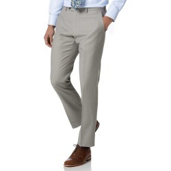 Wool Light Grey Slim Fit Twill Business Suit Trousers found on Bargain Bro UK from Charles Tyrwhitt (UK)