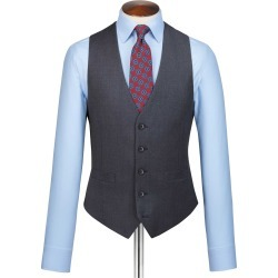 Wool Steel Blue Adjustable Fit Twill Business Suit Waistcoat found on Bargain Bro UK from Charles Tyrwhitt (UK)