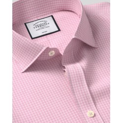 Cutaway Collar Non-Iron Cotton Stretch Check Shirt - Pink found on Bargain Bro UK from Charles Tyrwhitt (UK)
