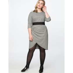 Wrap Skirt Work Dress - Black and White found on MODAPINS from Eloquii for USD $24.99