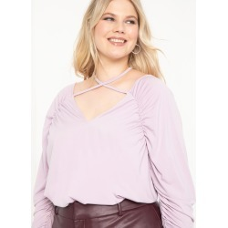 Ruched Tie Neck Top - Fair Orchid