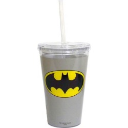 Batman Gray 16 oz. Travel Cup with Straw found on Bargain Bro India from entertainmentearth.com for $9.99