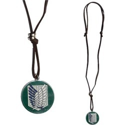 Attack on Titan Green Scout Shield with Leather Necklace