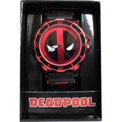 Deadpool Logo Dial Red Bullet Band Black Rubber Strap Watch found on Bargain Bro India from entertainmentearth.com for $22.99