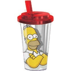 The Simpsons Homer 16 oz. Flip-Straw Travel Cup