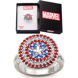 Captain America Shield Stainless Steel Bling Women's Ring found on MODAPINS from entertainmentearth.com for USD $22.99