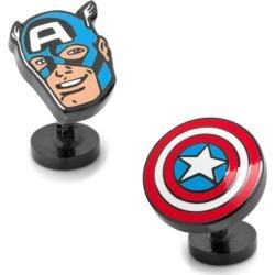 Captain America Comics Face and Shield Pair Cufflinks