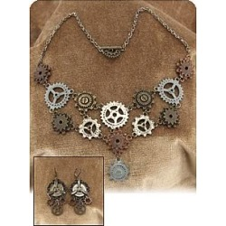 Gear Necklace and Earrings Set