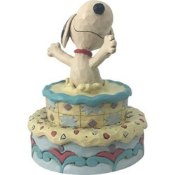 Peanuts Snoopy Jumping Out Birthday Cake by Jim Shore Statue found on Bargain Bro India from entertainmentearth.com for $49.99