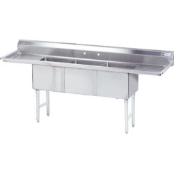 18 in x 18 in x 14 in 3 Compartment Sink w/ Left and Right Drainboards found on Bargain Bro Philippines from eTundra for $902.99