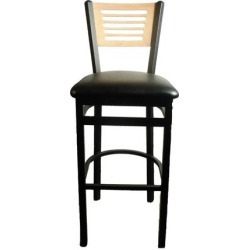 5-Line Natural Wood Back Barstool w/Black Vinyl Seat found on Bargain Bro India from eTundra for $102.99
