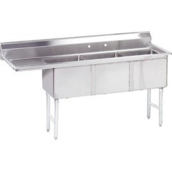 18 in x 18 in x 14 in 3 Compartment Sink w/ Left Drainboard found on Bargain Bro Philippines from eTundra for $808.99