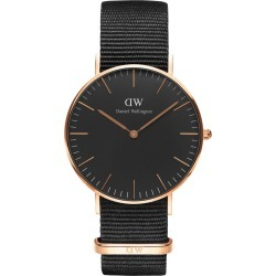 Daniel Wellington Classic Black Cornwall Rose Gold-Tone and Black Watch with NATO Strap 36mm found on MODAPINS from Fields for USD $180.70